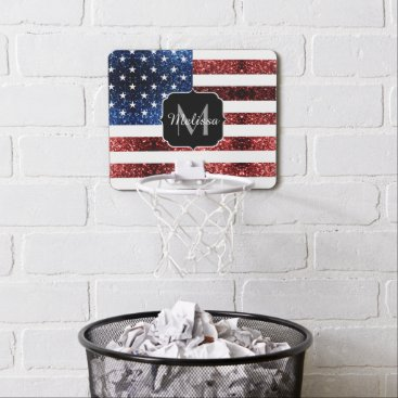 USA Themed USA flag red blue sparkles glitters Monogram Mini Basketball Backboard