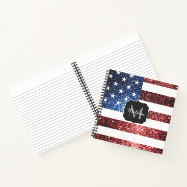 USA Themed USA flag red blue sparkles glitters Monogram Notebook