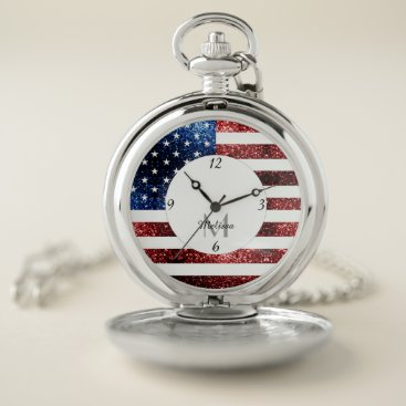 USA Themed USA flag red blue sparkles glitters Monogram Pocket Watch