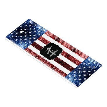 USA Themed USA flag red blue sparkles glitters Monogram Ruler