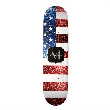 USA Themed USA flag red blue sparkles glitters Monogram Skateboard Deck