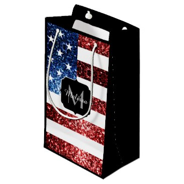 USA Themed USA flag red blue sparkles glitters Monogram Small Gift Bag