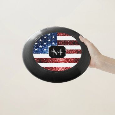 USA Themed USA flag red blue sparkles glitters Monogram Wham-O Frisbee