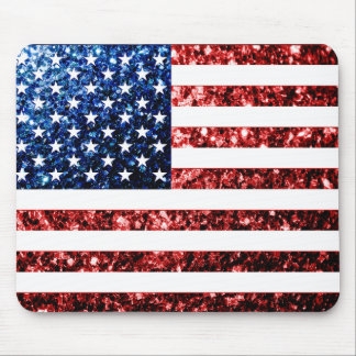 USA flag red & blue sparkles glitters Mouse Pad