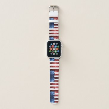 USA Themed USA flag red blue sparkles glitters pattern Apple Watch Band