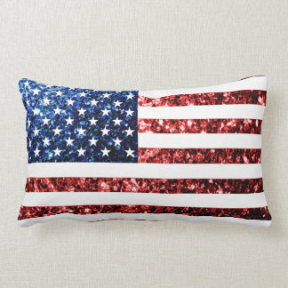 USA flag red & blue sparkles glitters Pillow