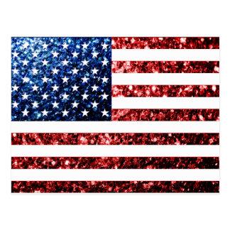 USA flag red & blue sparkles glitters Postcard