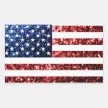 USA flag red & blue sparkles glitters Rectangular Sticker