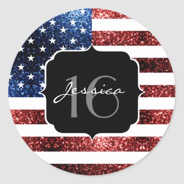 USA Themed USA flag red blue sparkles glitters Sweet 16 Classic Round Sticker