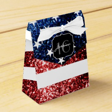 USA flag red blue sparkles glitters Sweet 16 Favor Box