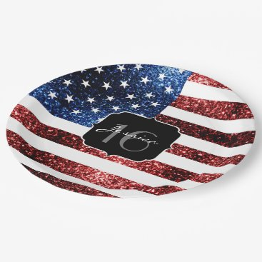USA Themed USA flag red blue sparkles glitters Sweet 16 Paper Plate