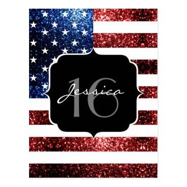 USA Themed USA flag red blue sparkles glitters Sweet 16 Postcard