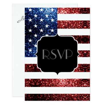 USA Themed USA flag red blue sparkles glitters Sweet 16 RSVP Card