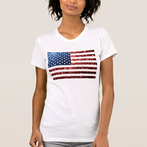 USA flag red  blue sparkles glitters T_Shirt