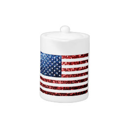 USA flag red & blue sparkles glitters Teapot