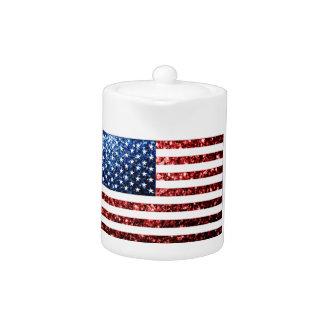 USA flag red & blue sparkles glitters Teapot