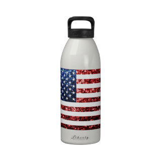 USA flag red blue sparkles glitters Water Bottles