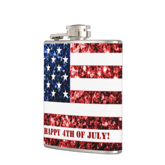 USA flag red blue sparkles Happy 4th of July flask