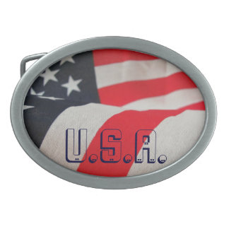 USA Flag Red White And Blue Oval Belt Buckle
