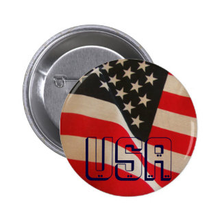 USA Flag Red White and Blue Pinback Button