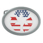 USA Flag - Red White & Blue Recycle Symbol Oval Belt Buckles