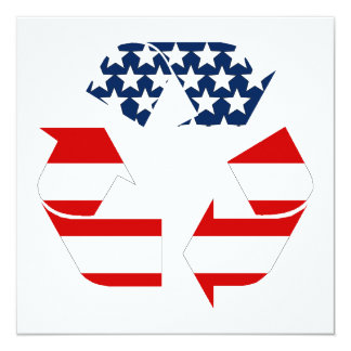 USA Flag - Red White & Blue Recycle Symbol Card