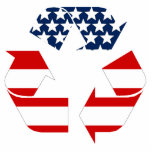 USA Flag - Red White & Blue Recycle Symbol Acrylic Cut Outs