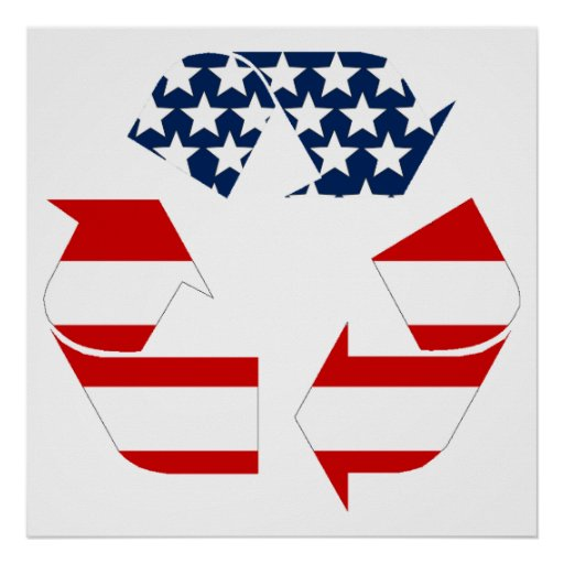 USA Flag - Red White & Blue Recycle Symbol Print