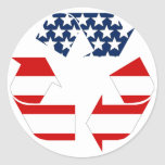 USA Flag - Red White & Blue Recycle Symbol Round Stickers