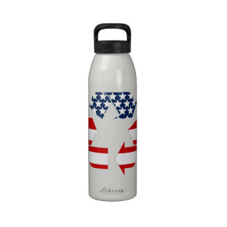 USA Flag - Red White Blue Recycle Symbol Drinking Bottle