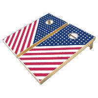USA Flag Red White Stars Stripes Cornhole Game Set