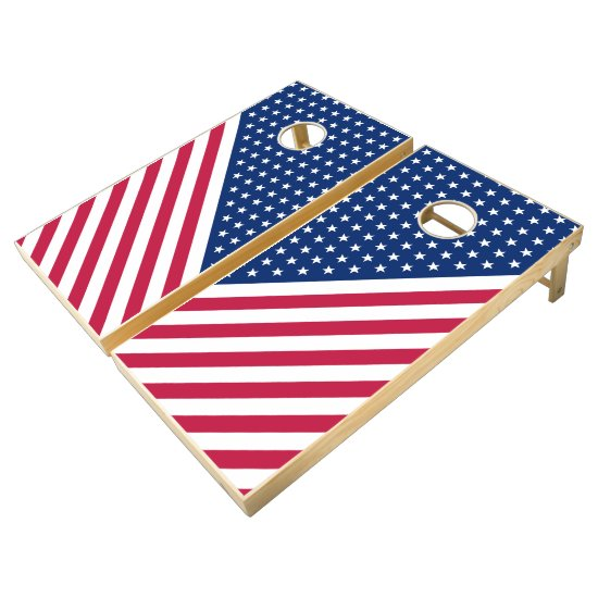 USA Flag Red White Stars Stripes Cornhole Game Set Cornhole Set