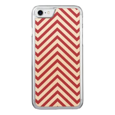 USA Themed USA Flag Red & White Wavy ZigZag Chevron Stripes Carved iPhone 7 Case
