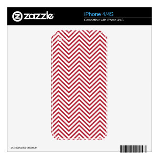 USA Flag Red & White Wavy ZigZag Chevron Stripes Decals For The iPhone 4S