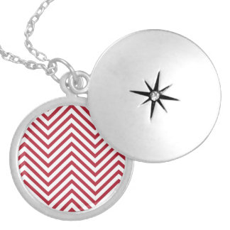 USA Flag Red & White Wavy ZigZag Chevron Stripes Silver Plated Necklace