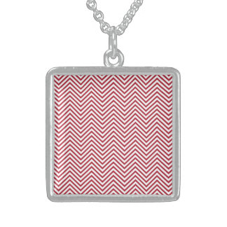 USA Flag Red & White Wavy ZigZag Chevron Stripes Sterling Silver Necklace