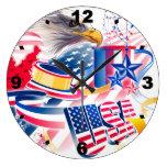 USA Flag Reloj Redondo Grande