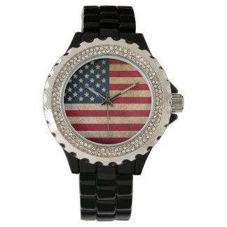 USA Flag Rhinestone Accent Black Enamel Watch