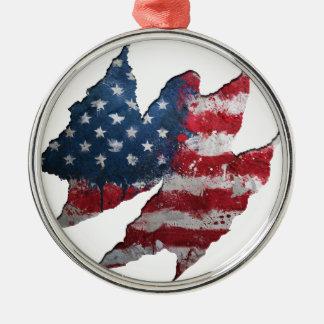 USA flag rip Metal Ornament