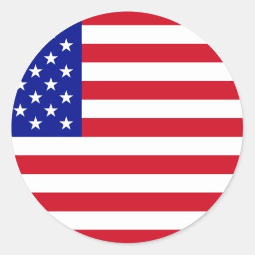 USA Flag Round Stickers