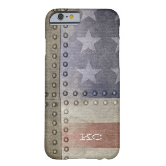 USA flag rustic metal monogram Barely There iPhone 6 Case