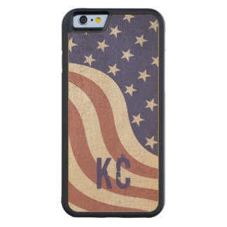 USA flag rustic weathered monogram Carved Maple iPhone 6 Bumper Case