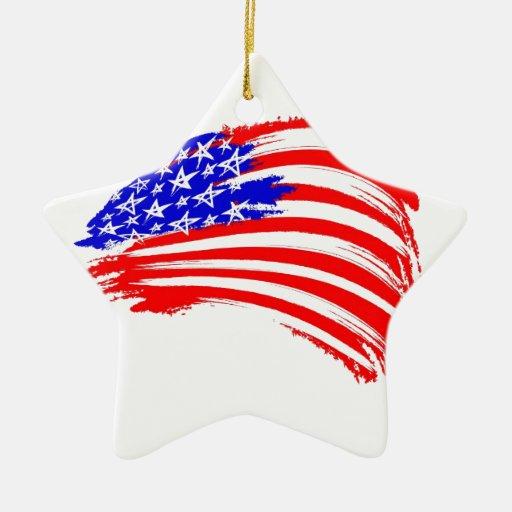 Usa-flag sketch ceramic ornament