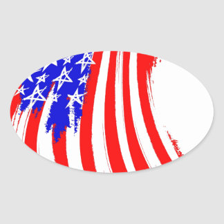Usa-flag sketch oval sticker
