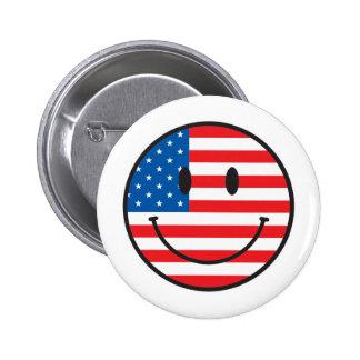 USA Flag Smiley Happy Face Button