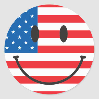 USA Flag Smiley Happy Face Classic Round Sticker