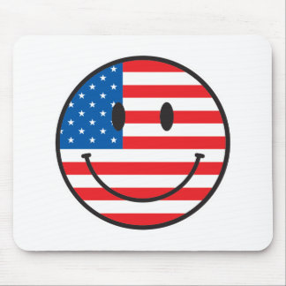 USA Flag Smiley Happy Face Mouse Pads