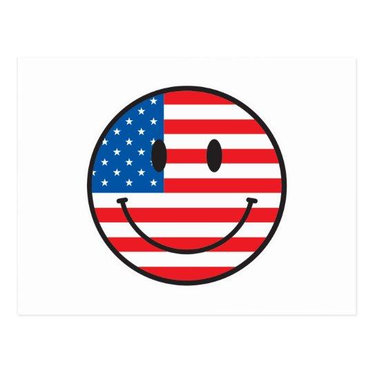 USA Flag Smiley Happy Face Postcard