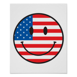 USA Flag Smiley Happy Face Posters