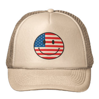 USA Flag Smiley Happy Face Trucker Hat